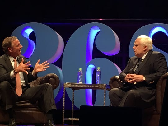"Gov. Bill Haslam, left, hosts a ""fireside chat"" with FedEx CEO Fred Smith at a previous 36/86 tech conference in Nashville, asking the man behind the $54 billion Memphis-based company what brought him success and how he's maintained it."