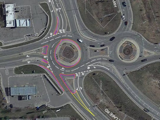 A conceptual drawing of possible changes to the roundabout