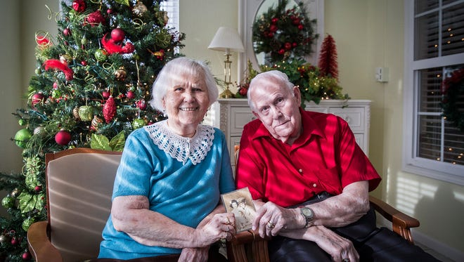 Rodney and Mary Grobey at Elmcroft Retirement Home Wednesday morning. The couple will be celebrating their 75th wedding anniversary Christmas Eve.