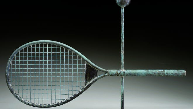 Unique or unusual items sell quickly at shows and auctions. So this weather vane featuring a copper tennis racquet got bids up to the winning $1,815 at a Maine auction.