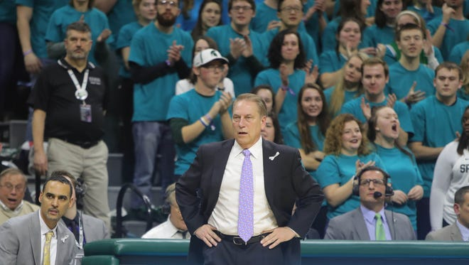 Michigan State coach Tom Izzo on the bench during the first half on Friday, Jan. 26, 2018, at Breslin Center.