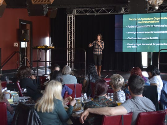 Wayne State University assistant anthropologist Julie Lesnik, 35, delivering a TED-like talk on edible insects at the Knowledge on Tap event April 19, 2016, at HopCat in Midtown Detroit.