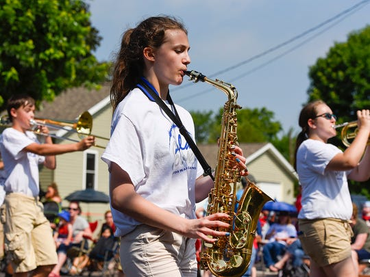 The St. Cloud Solar Sound Junior Band played during the Church of St. Joseph Parish Festival parade Tuesday, July 4, in St. Joseph.