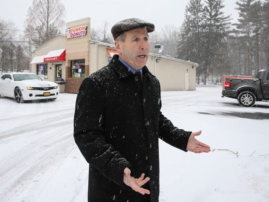 Stony Point Supervisor Jim Monaghan photographed outside a Dunkin Donuts in Stony Point on Wednesday, February 7, 2018.  The Dunkin Donuts owner has expansion plans in with the town planning board.