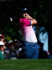 Sergio Garcia hits his tee shot on the 4th hole during