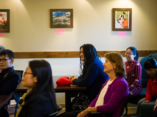 """Students listen during the """"Chinese Culture in My Eyes"""" photo contest, part of international education week at University of Tennessee in Knoxville, Tenn. Thursday, Nov. 16, 2017. International student enrollment in Tennessee grew by nearly 10 percent in 2016, according to a new report, but several colleges and universities have reported a decline in the number of new international students."""