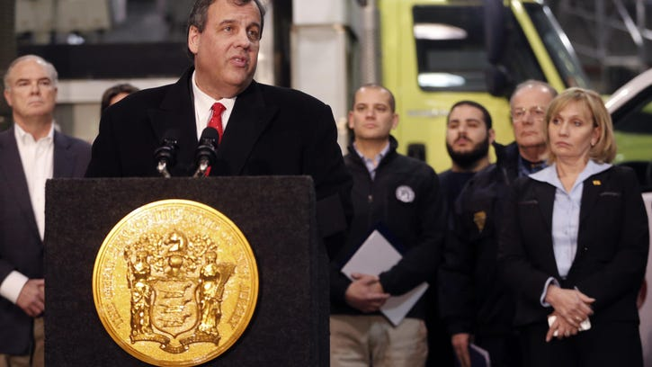 Gov. Chris Christie speaks in Newark ahead of a snowstorm.