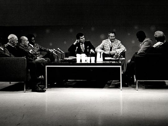 "A view from the TV show ""Haney's People,"" with Don Haney, second from right, as host. Among the guests on this 1969 episode were Lawrence Welk and Frank Sinatra Jr."