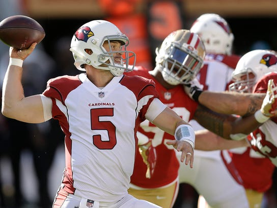 Drew Stanton passes against the 49ers in the first half Sunday.