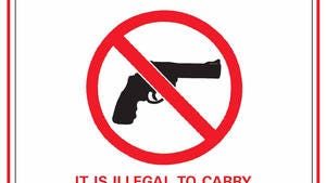 "This is a sample of the ""no guns"" sign that businesses can hang if they don't want even concealed-carry permit holders to bring guns into their establishments."