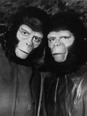 """Roddy McDowall, left, and Booth Colman in 1968's original """"Planet of the Apes."""""""