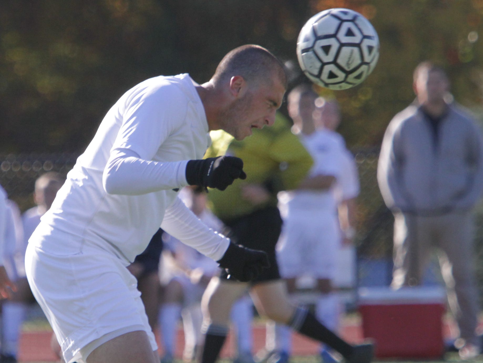 Game action as Pelham is hosted by Byram Hills during their boys soccer quarterfinal Class A game at Byram Hoills High School in Armonk Oct. 26, 2015.