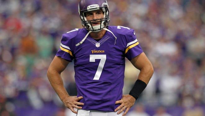 Vikings QB Christian Ponder ranks near the bottom of most NFL passing categories amid his team's 0-3 start.