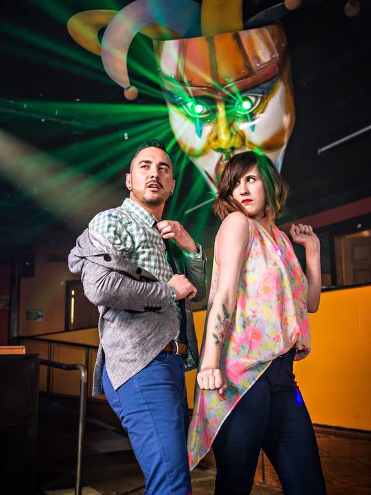 Brandon Gedler, 29, and Megan Staker, 31, on the dance floor at Jokers.