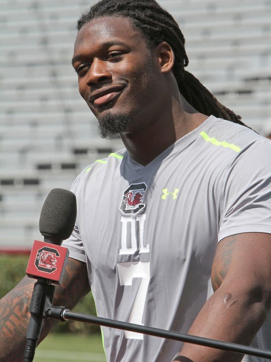 ADVANCE FORN WEEKEND EDITIONS, APRIL 26-27 - FILE - In this April 2, 2014 file photo, South Carolina defensive end Jadeveon Clowney talks to the media after he competed in a drill for NFL representatives at South Carolina football pro day in Columbia, S.C. Get ready NFL quarterbacks, Jadeveon Clowney's coming. The 6-5, 266-pound defensive end who was the best at his spot in high school and college is ready to find out where he'll start his NFL career.  (AP Photo/Mary Ann Chastain, File)