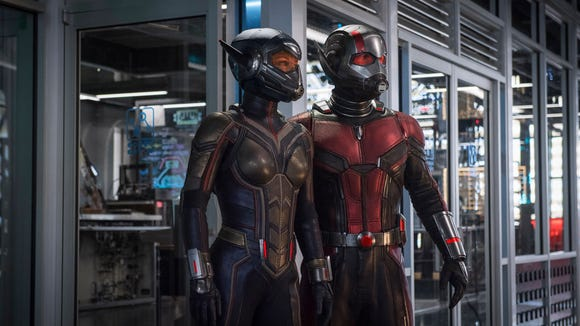 "Hope Van Dyne (Evangeline Lilly) and Scott Lang (Paul Rudd) suit up as partners in ""Ant-Man and the Wasp."""