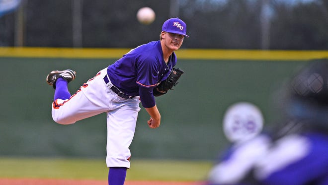 Northwestern State pitcher Dan  Hlad took the loss on Saturday at Kansas.