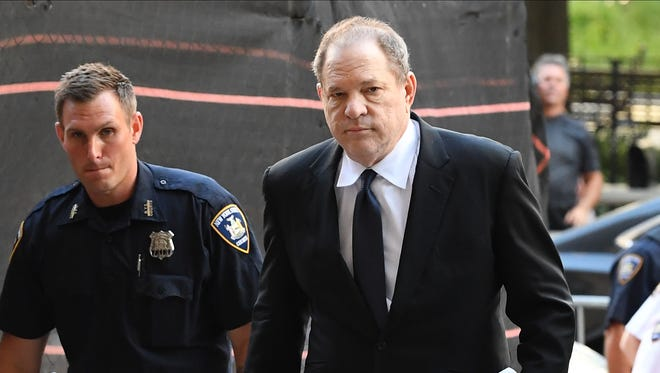 Harvey Weinstein arrives to court in New York, July 9, 2018. Weinstein, who was previously indicted on charges involving two women, was in court today for arraignment on charges alleging he committed a sex crime against a third woman.