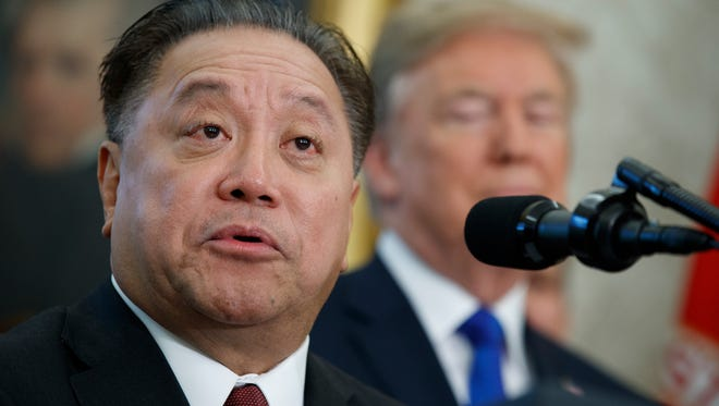 Broadcom CEO Hock Tan on Nov. 2, 2017, announced in the Oval Office, with President Donald Trump in the background, that the company is moving its global headquarters to the U.S. On Monday, Nov. 6, Broadcom made an unsolicited, $103 billion offer for rival chipmaker Qualcomm.