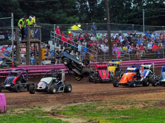 The 600 Micro Sprint car of Jack Conover takes a flip during a race this past weekend.