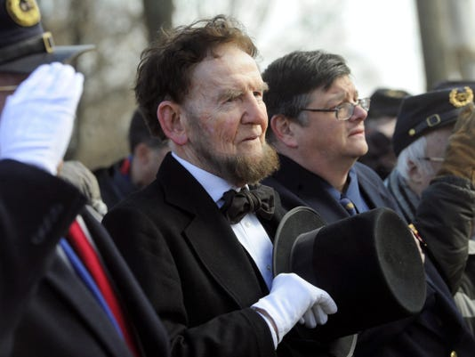 File James Getty, portraying President Abraham Lincoln, said a few words at the Woolson Monument for the 57th Annual Remembrance Day Observance in Gettysburg in 2013. The Lincoln re-enactor died Saturday. He was 83.