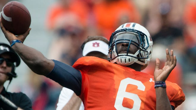 Auburn quarterback Jeremy Johnson (6) throws a pass during the Auburn A-Day spring game on Saturday, April 18, 2015, at Jordan-Hare Stadium in Auburn, Ala.