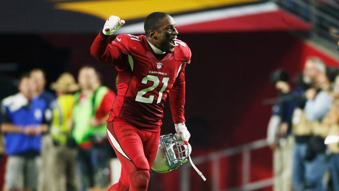 Cardinals CB Patrick Peterson reacts after video replay reversed a call against the Kansas City Chiefs in the fourth quarter during NFL action at University of Phoenix Stadium in Glendale.