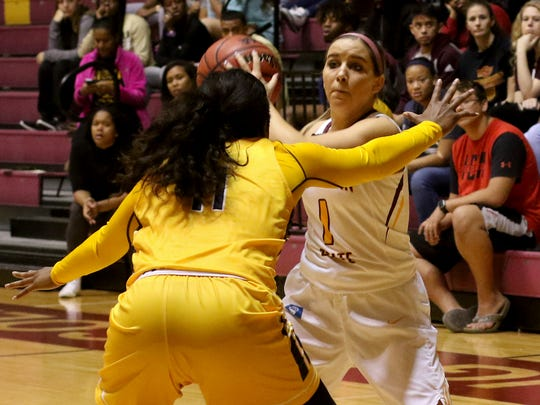 Midwestern State's Leanna James looks for an open teammate in the game against Texas A&M-Commerce Saturday, Dec. 2, 2017, at D.L. Ligon Coliseum. The Mustangs defeated the Lions 69-66.