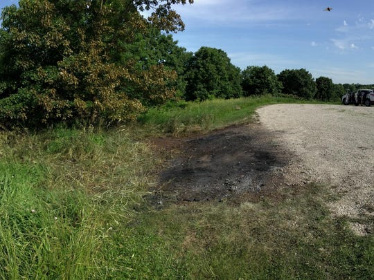 This location on the west side of Grant Trace Conservation Area in Harrison County, Mo., is reportedly where Missouri highway patrol authorities found the remains of two people in a burned vehicle early Wednesday morning. The bodies match the description of 9-month-old Logan Habibovic and his biological father, Elvis Habibovic, 33, who Urbandale police say abducted the boy Tuesday.