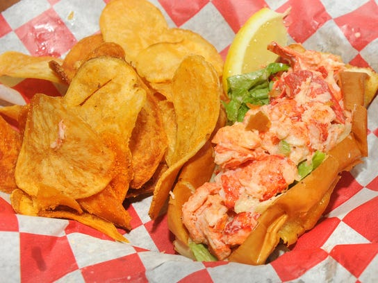 An East Coast favorite, the lobster roll, filled with