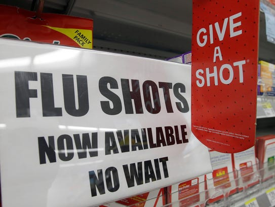 A sign telling customers that they can get a flu shot