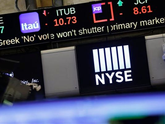 """A stock ticker carries news of the """"No"""" vote on the Greek debt referendum, on the floor of the New York Stock Exchange, Monday, July 6, 2015, in New York."""