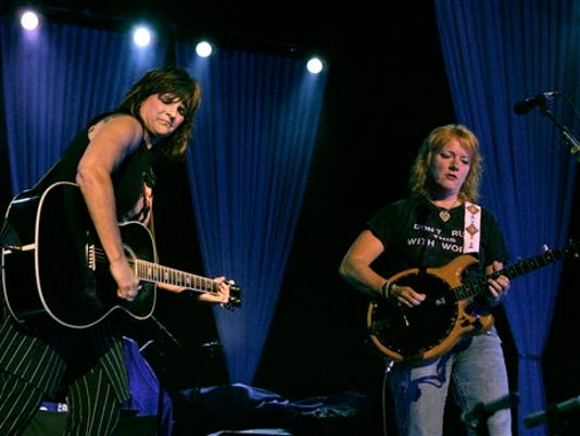 Amy Ray, left, and Emily Saliers of the Indigo Girls perform during the first annual True Colors Tour at the MGM Grand in Las Vegas in 2007.
