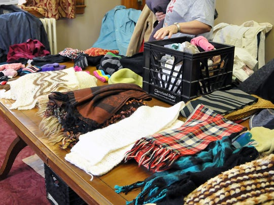 Scarves, hats, gloves and coats were all given away at Pontifex on Saturday.
