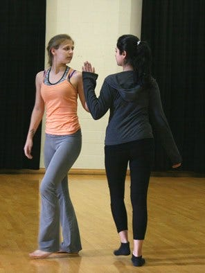 Wilson College dancers Myah Qurin, left, and Mansi Seetlani rehearse for the upcoming Orchesis performance.