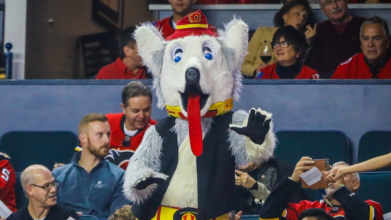 USA TODAY Sports' Peter Barzilai got caught up in the parade of league mascots as they prepped for the NHL All-Star Game skills competition.