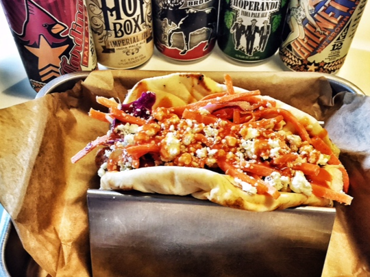 Buffalo Chicken Style Hotdog and beer. One of the many