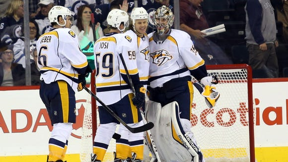 Nashville Predators goalie Pekka Rinne (35) celebrate
