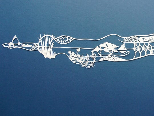 """i swim in this river,"" hand-cut Arches paper by Jenny"