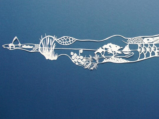 """""""i swim in this river,"""" hand-cut Arches paper by Jenny"""