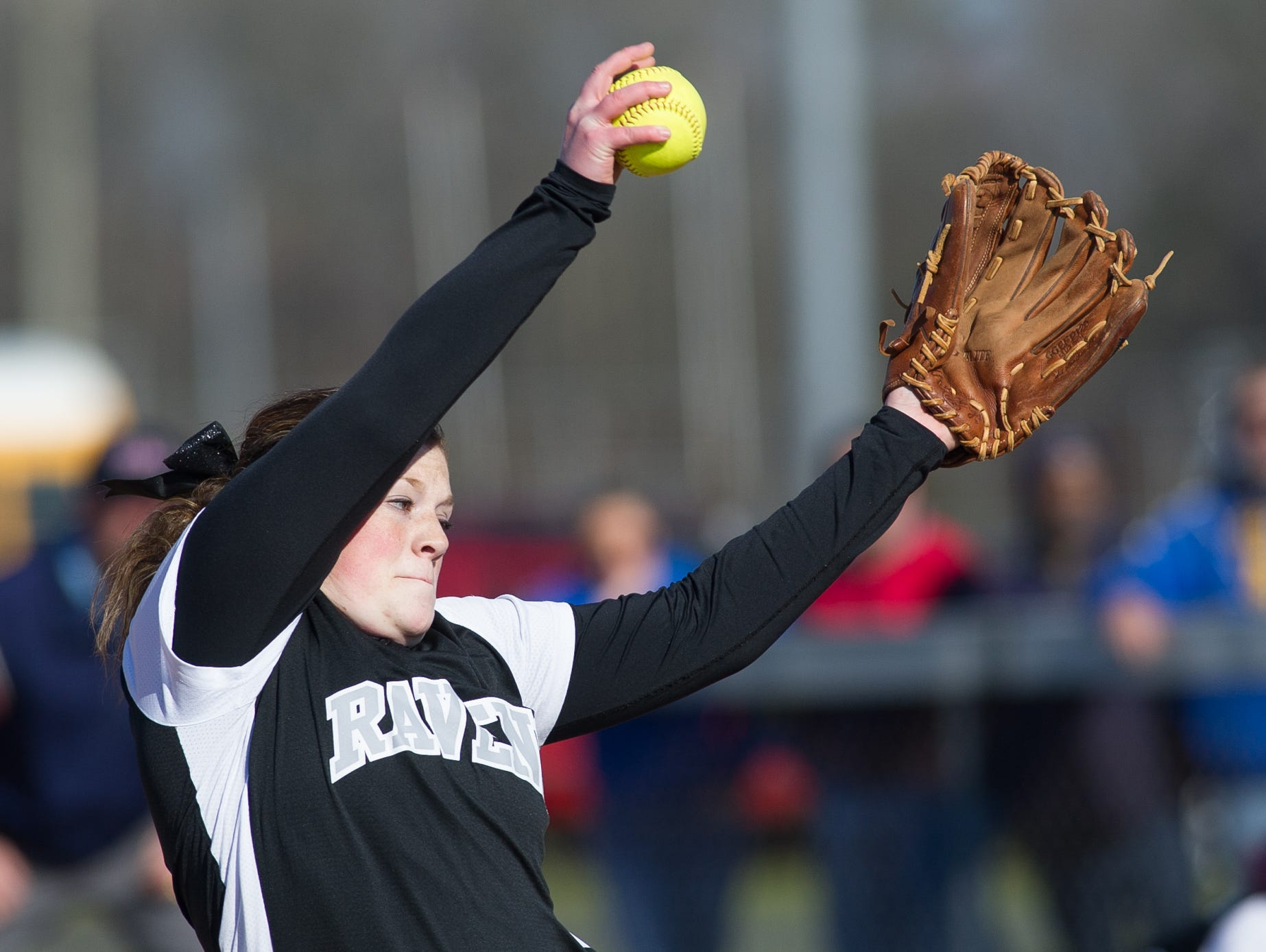 Sussex Tech's pitcher Sarah James (10) pitches in the first inning against Sussex Central.