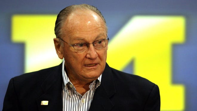 Former Michigan football coach Bo Schembechler talks to the media on Nov. 13, 2006, at the Junge Family Champions Center in Ann Arbor.