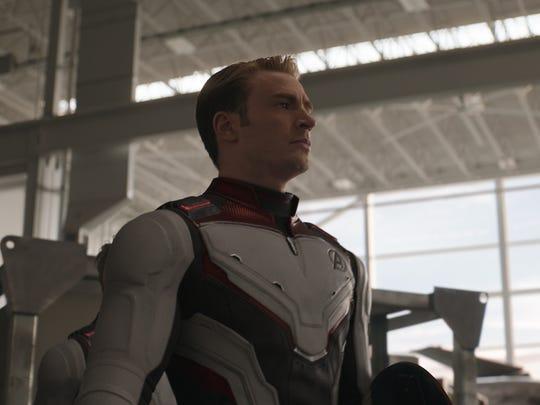 Chris Evans portraying Captain America in a scene from  Avengers: Endgame .