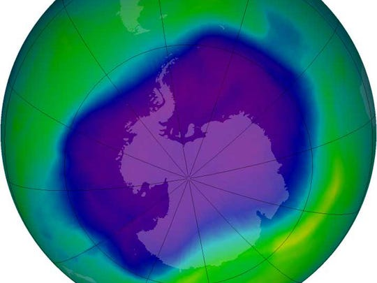A NASA image shows the ozone hole over Antarctica in