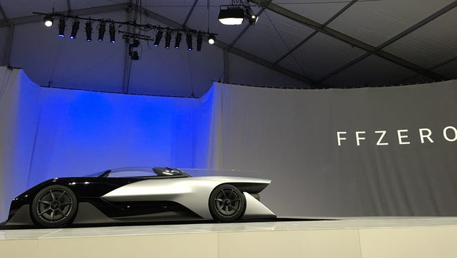 Faraday Future unveiling its electric race car prototype at CES last week.