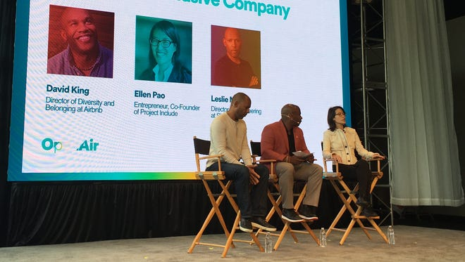 At Airbnb Open Air, guests talk about building an inclusive company: (L to R) Leslie Miley, engineer at Slack, David King, Airbnb's director of diversity and inclusion and Ellen Pao, co-founder of Project Include.