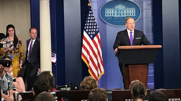 White House Press Secretary Sean Spicer answers questions
