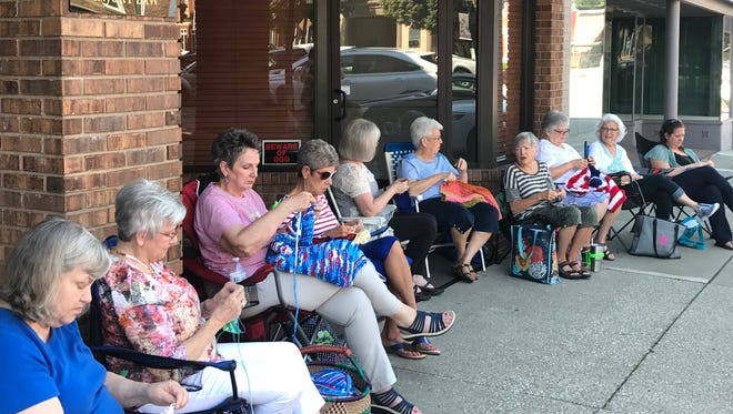 Saturday was World Wide Knit in Public Day. A group of local knitters participated in the event held on North Main Street.