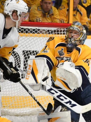 Predators goalie Pekka Rinne (35) makes a stop during the second period of Game 3 of the Stanley Cup Final at Bridgestone Arena on Saturday, June 3, 2017.