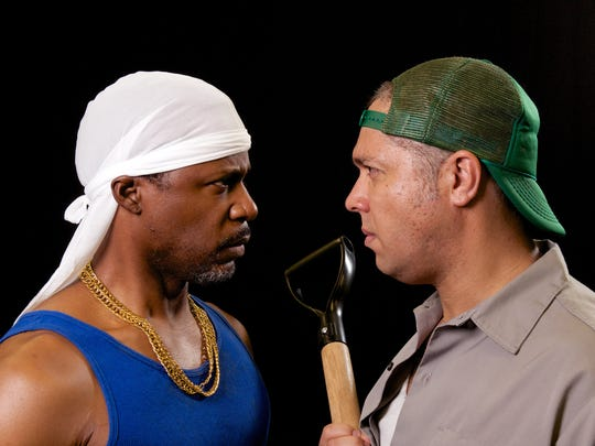 "DeJean Brown (left) and Damon J. Bolling star in the Stray Cat Theatre production of ""The Brothers Size."""